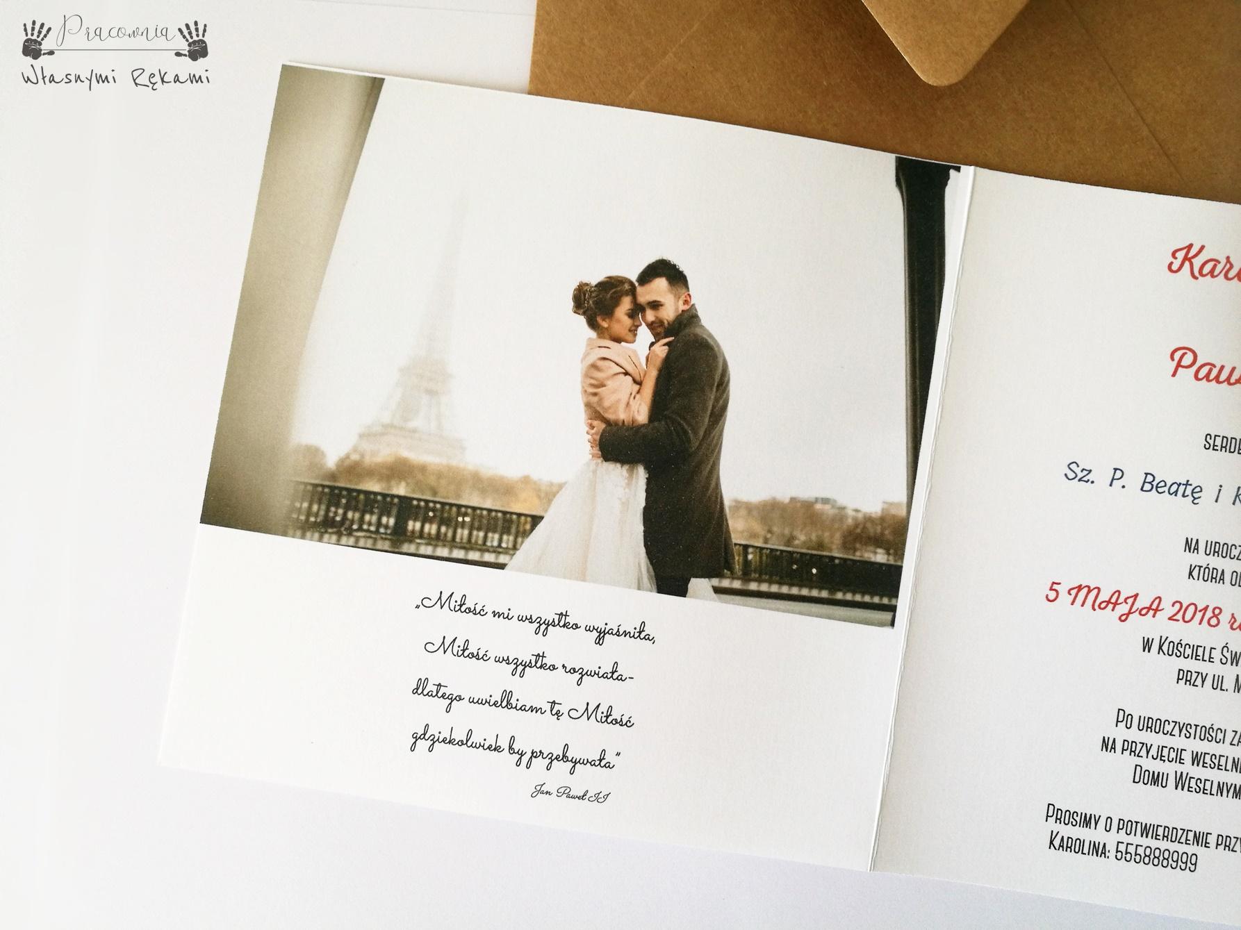 Zaproszenia ślubne Foto Ze Zdjęciem Pracownia Własnymi Rękami