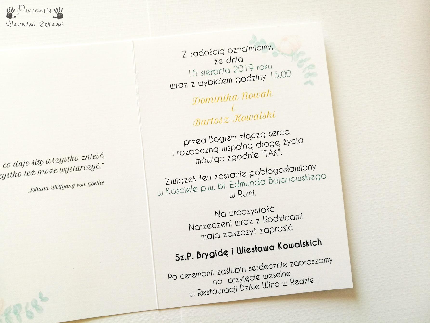 Zaproszenia ślubne Peonie Złoto Geometryczne C6 Pracownia Własnymi