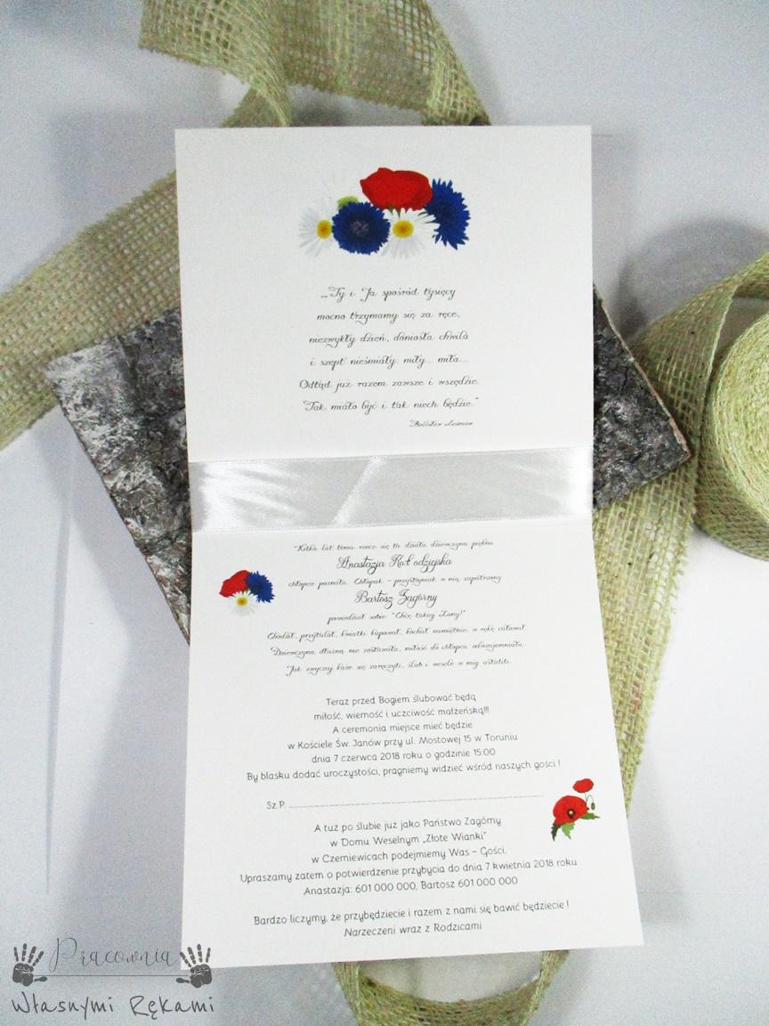 Zaproszenia ślubne Chabry Rumianki I Maki Pracownia Własnymi Rękami