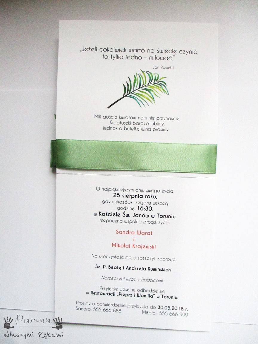 Zaproszenia ślubne Greenery Pracownia Własnymi Rękami