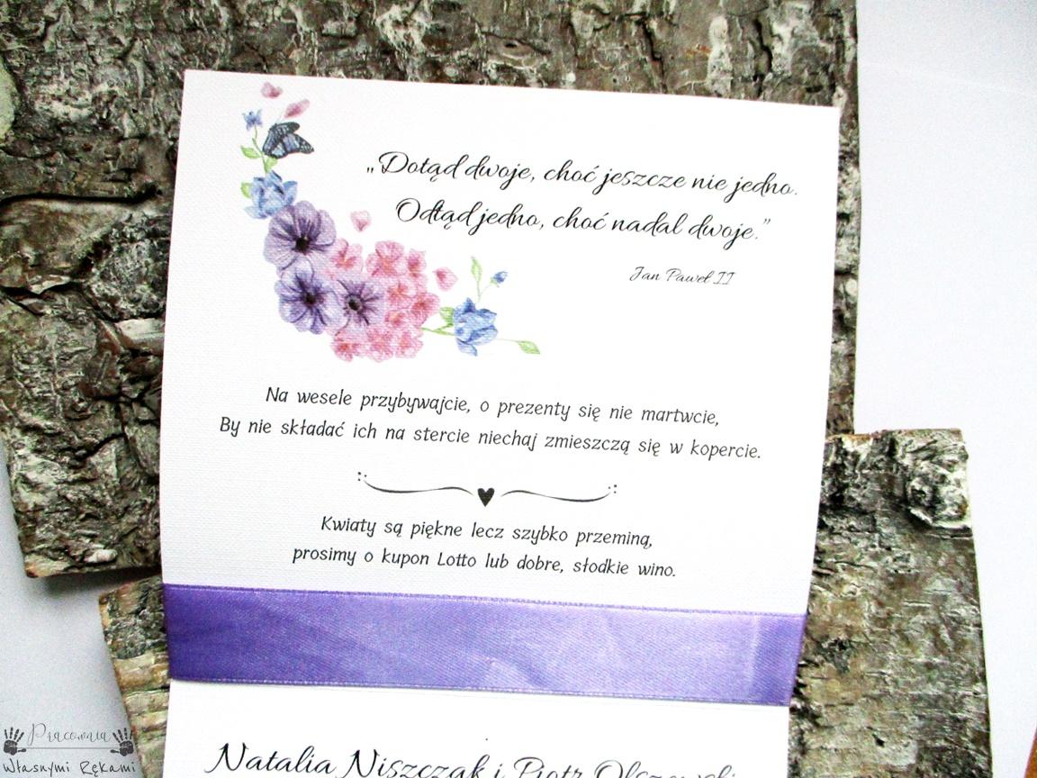 Zaproszenia ślubne Fioletowe I Love Violet Pracownia Własnymi Rękami