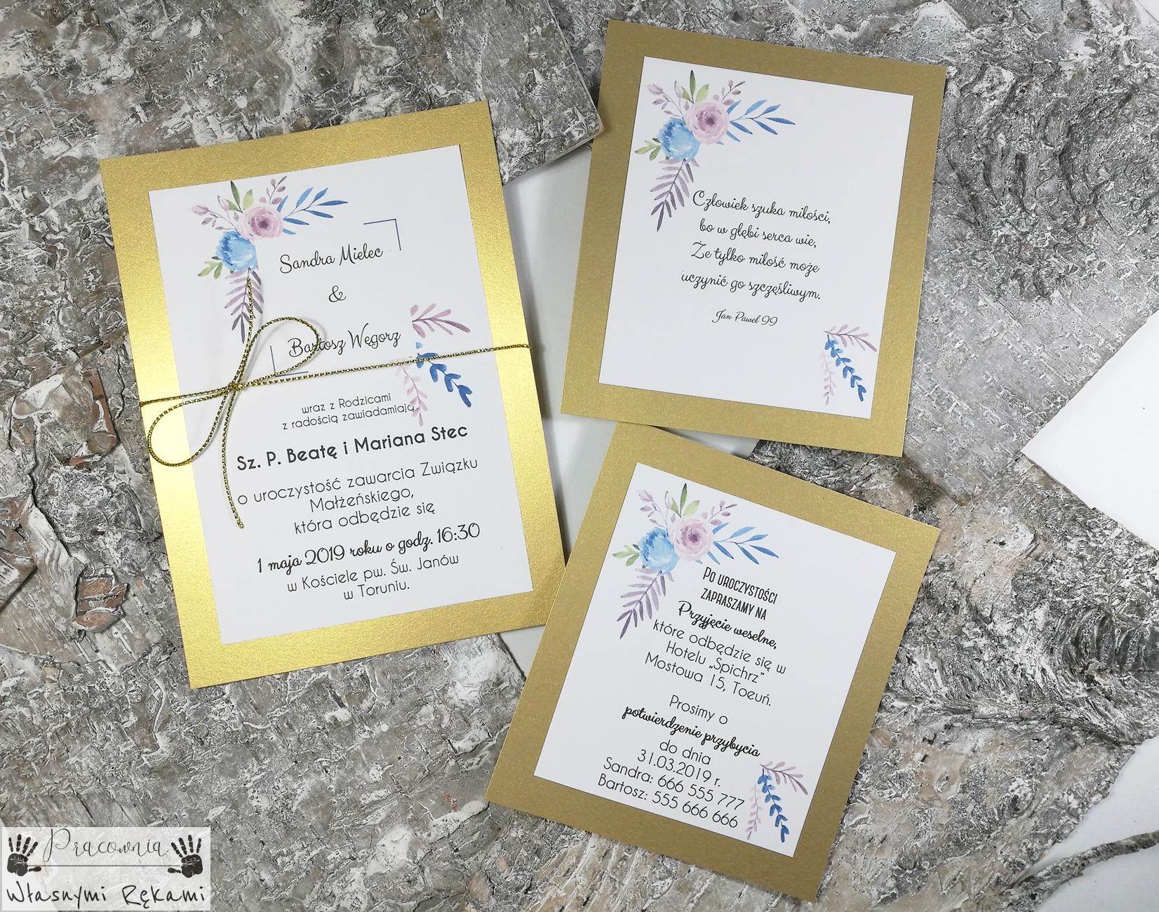 Zaproszenia ślubne Złote Glamour Z Wkładkami Pracownia Własnymi Rękami